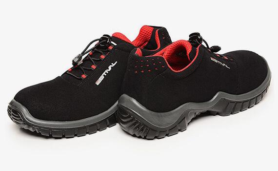 Sapato em Microfibra Preto/Vermelho